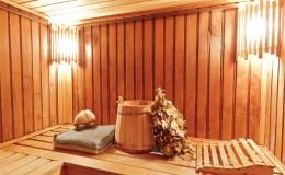 Interior of wooden russian sauna